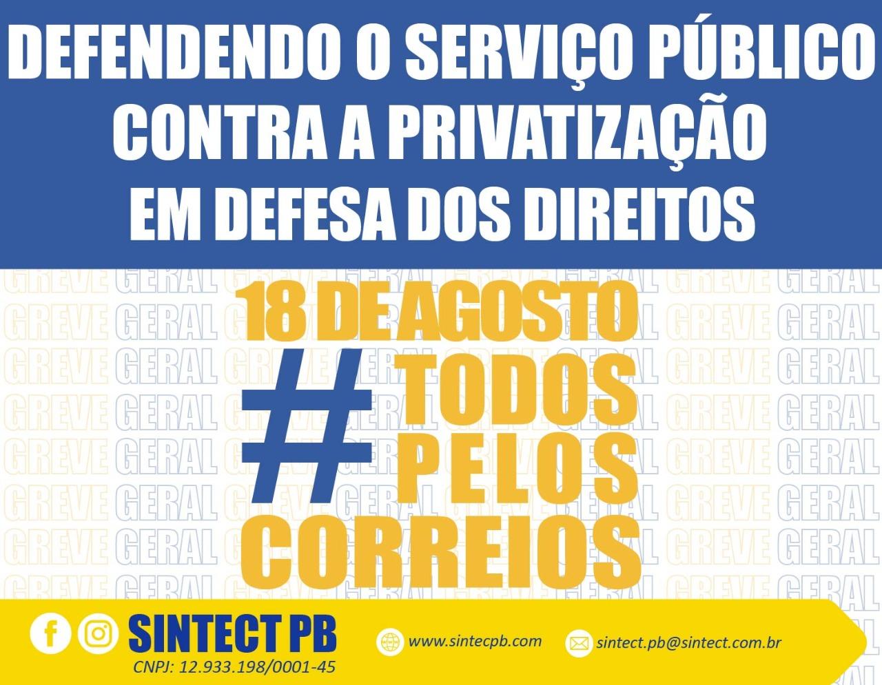 Contra a privatização dos correios