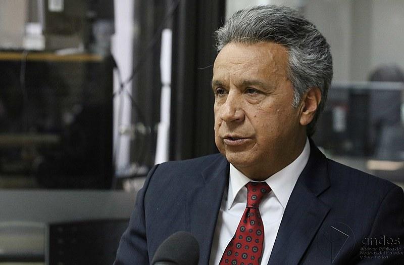 """O presidente Lenín Moreno, que anunciou o empréstimo como uma """"grande notícia"""", enfrenta denúncias em um caso de paraíso fiscal"""