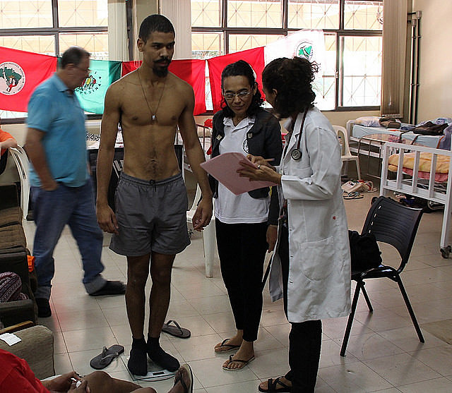 Leonardo Soares, one of the hunger strikers, during medical examination; health deteriorates as activists remain fasting