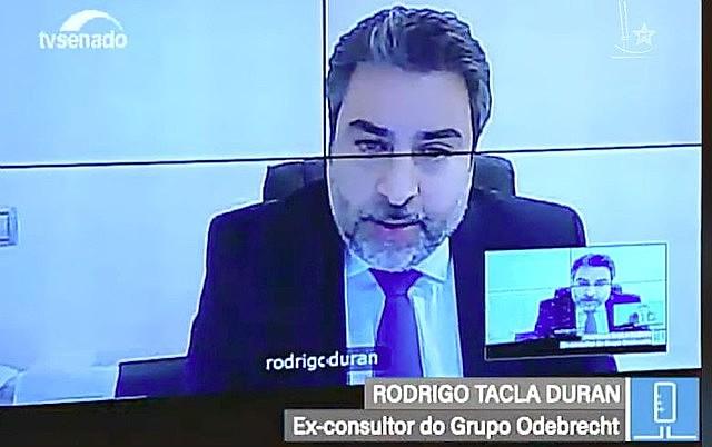 Tacla Duran durante depoimento por vídeo à CPMI da JBS, no Senado