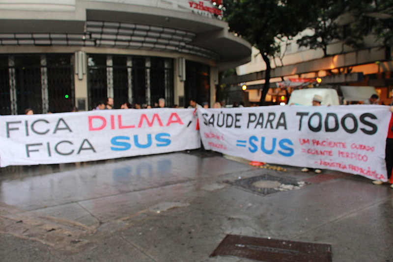 Protesto começou com ato na Praça Sete
