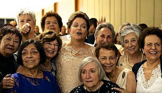 Dilma Rousseff e as ex-companheiras de prisão durante sua segunda posse na Presidência, em 2015