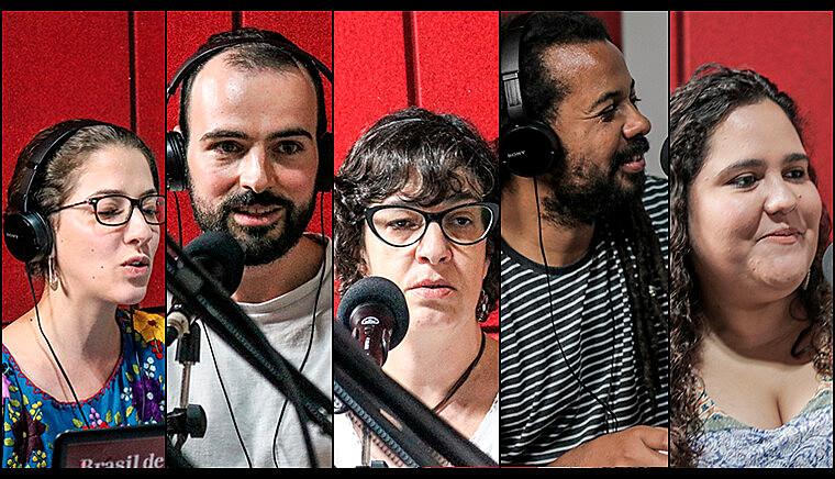 Repórteres Vivian Fernandes, Daniel Giovanaz, Cecília Figueiredo, Juca Guimarães e Lu Sudré participaram do programa de retrospectiva