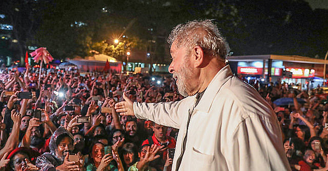 Lula in participating in a political act earlier this year