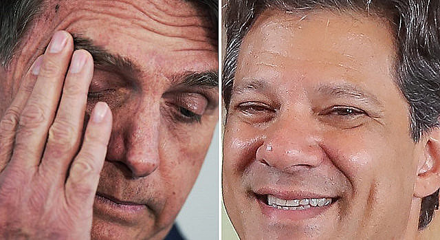 Three days to vote, poll shows Workers' Party presidential candidate narrowing far-right Bolsonaro's (left) lead