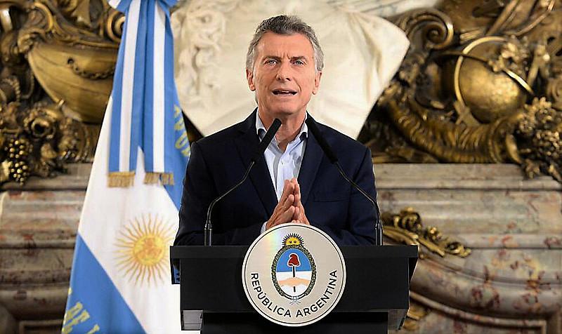 O presidente da Argentina, Maurício Macri, durante pronunciamento