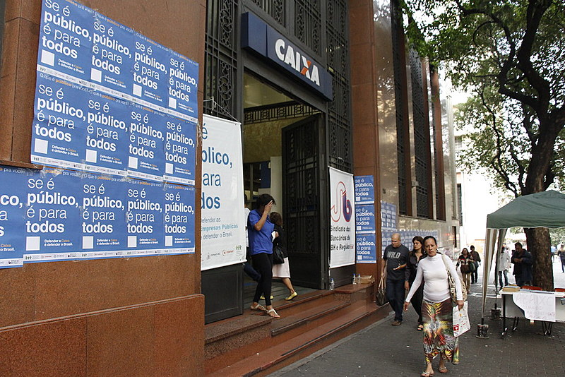 Em BH, sindicato dos bancários realizou ato em frente à agência Século, no Centro da capital