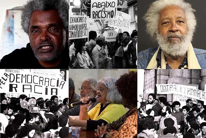 José Adão (esq.), Regina (centro) e Milton (dir.) e imagens do primeiro protesto do MNU, em 1978