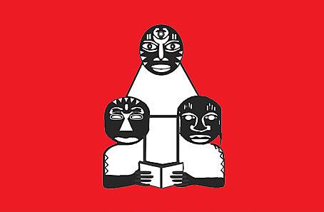 Símbolo do Quilombhoje Literatura. Apareceu nos Cadernos Negros 5, de 1982. Desenho de Márcio Barbosa