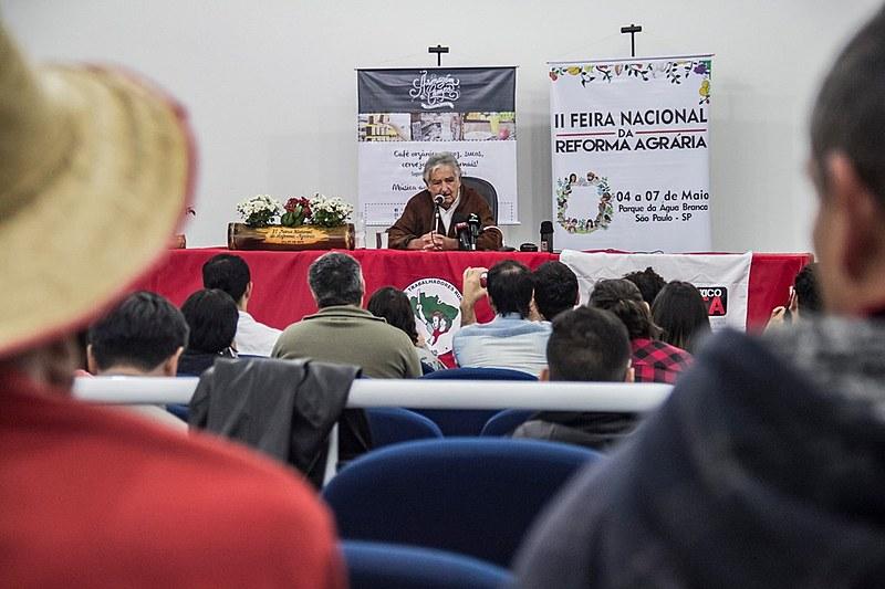 Ex-presidente do Uruguai José Mujica participa de roda de conversa com jornalistas na II Feira Nacional da Reforma Agrária