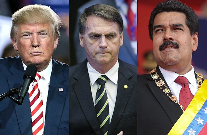 Donald Trump, Jair Bolsonaro e Nicolás Maduro: presidentes dos Estados Unidos, Brasil e Venezuela, respectivamente