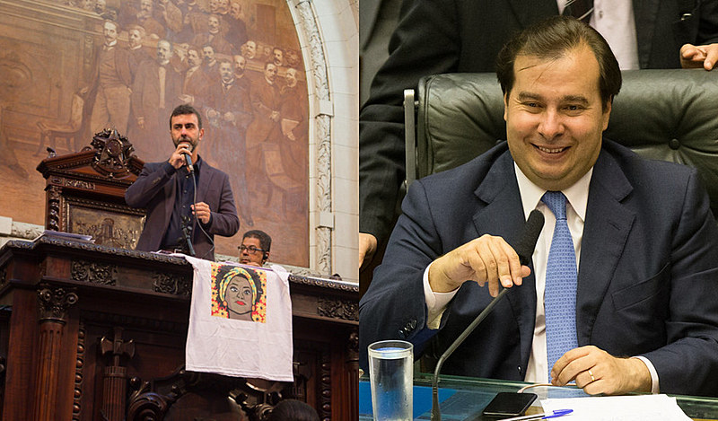 Marcelo Freixo (esq.) e Rodrigo Maia (dir.) são dois dos candidatos à Presidência da Câmara