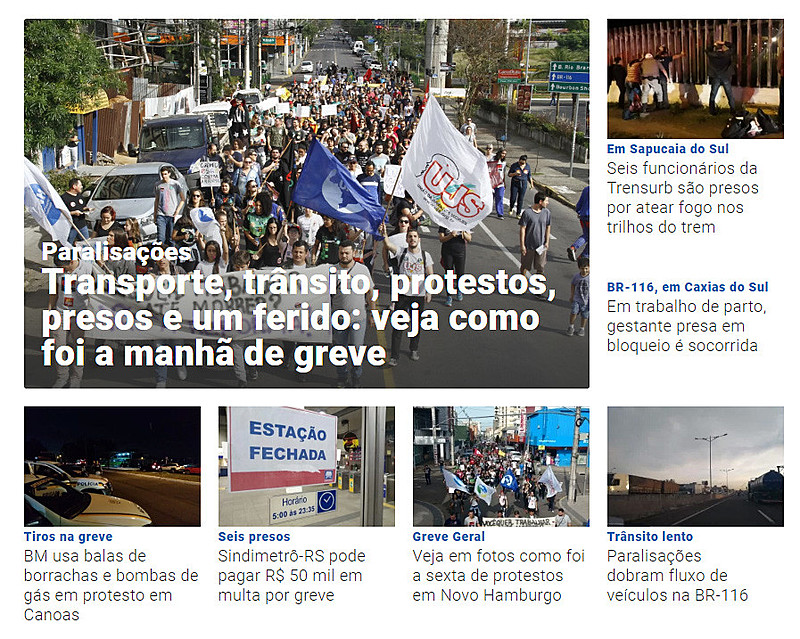Detalhe das manchetes do Jornal NH, da Região Metropolitana de Porto Alegre
