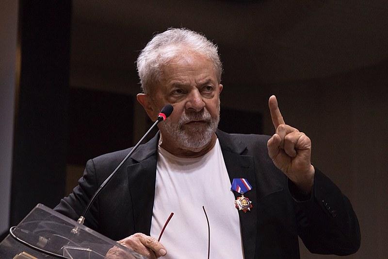 O ex-presidente Lula durante discurso no Congresso Nacional do PT