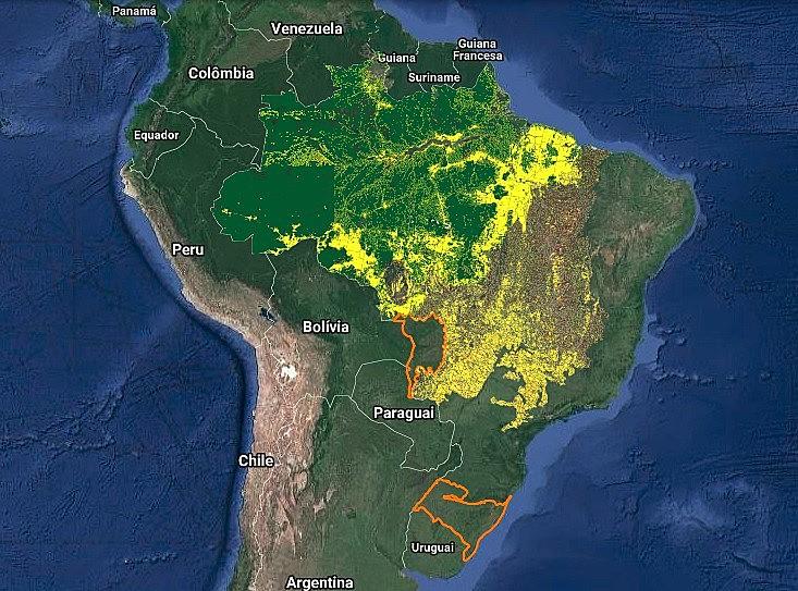 Imagem atualizada da plataforma Terra Brasilis sobre o desmatamento da Amazônia