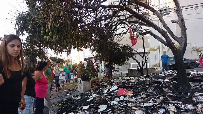 Em um momento da manifestação, um participante retirou as brasas de uma árvore atingida, para que ela também não fosse destruída