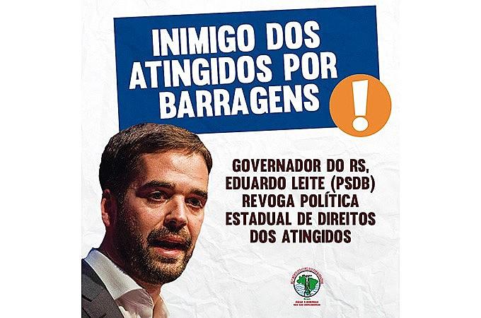 Campanha do MAB denuncia medida de Eduardo Leite (PSDB)