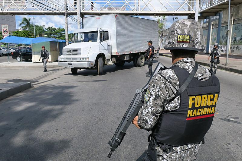 Agentes da Força Nacional, no Rio de Janeiro