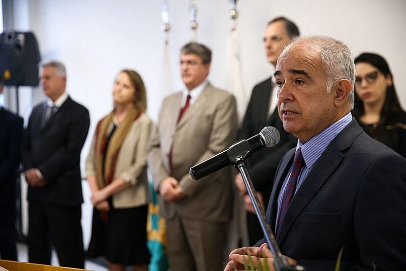 Vicente Andreu fala durante cerimônia em Brasília em 2017