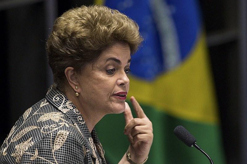 Dilma Rousseff durante depoimento no Senado Federal no dia 29 de agosto
