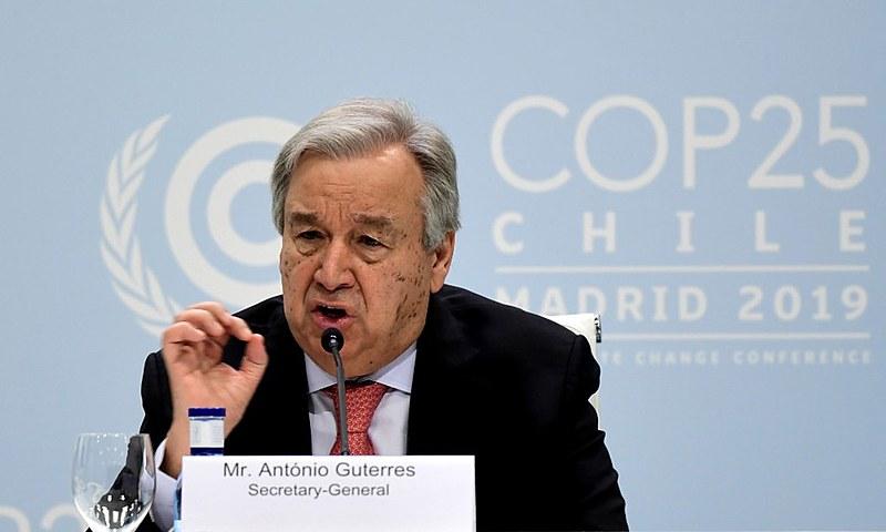 O chefe da ONU falou à imprensa na véspera da Cúpula do Clima (COP25), que começou nesta segunda-feira (2)