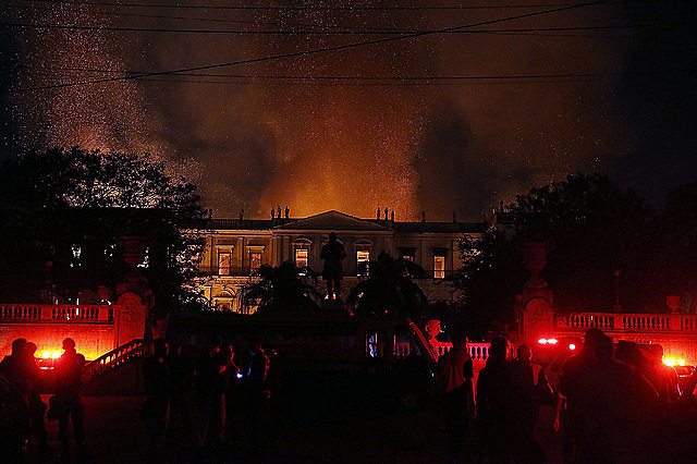 A huge blaze swept through Brazil's National Museum on Sunday night; building did not meet modern fire safety requirements