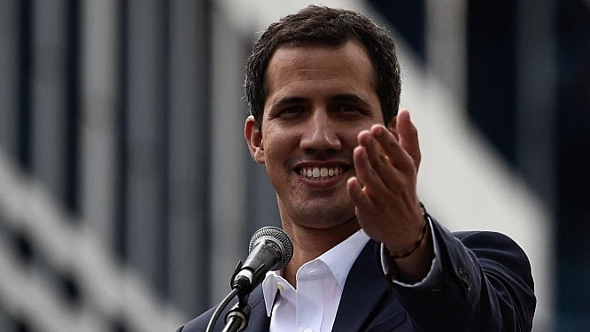 O autoproclamado presidente interino da Venezuela, Juan Guaidó