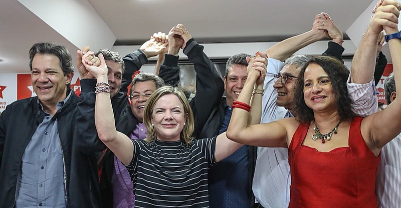 Integrantes do PT em coletiva de imprensa realizada no último domingo (05)