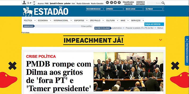 Homepage do Estadão nesta terça-feira (29).