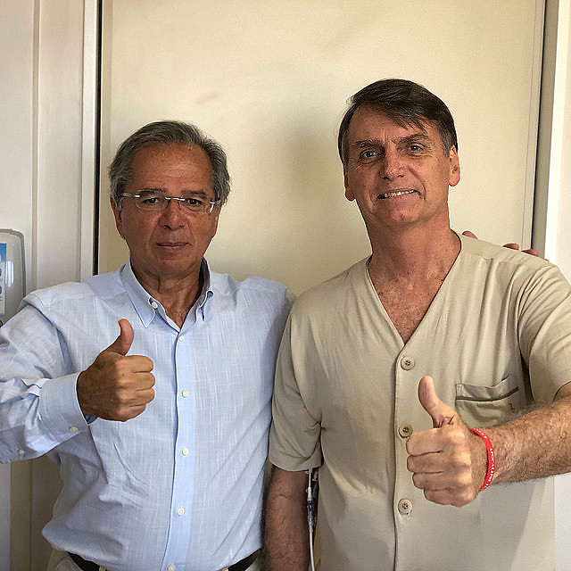 """Economist Paulo Guedes (left) said Brazil was """"held captive by ideological alliances"""" with Mercosur"""