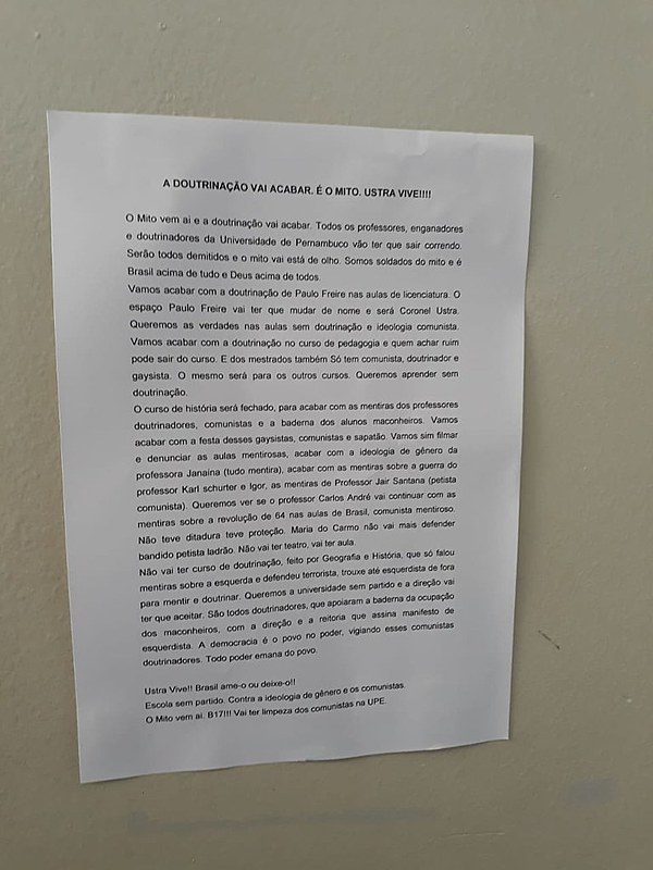 Documento foi divulgado na UPE e logo passou a circular nas redes sociais