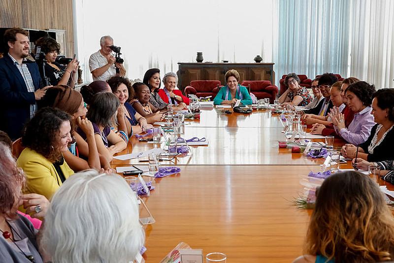 Ex-presidenta, Dilma Rousseff, durante Encontro com Movimentos de Mulheres no Palácio da Alvorada, em 2016
