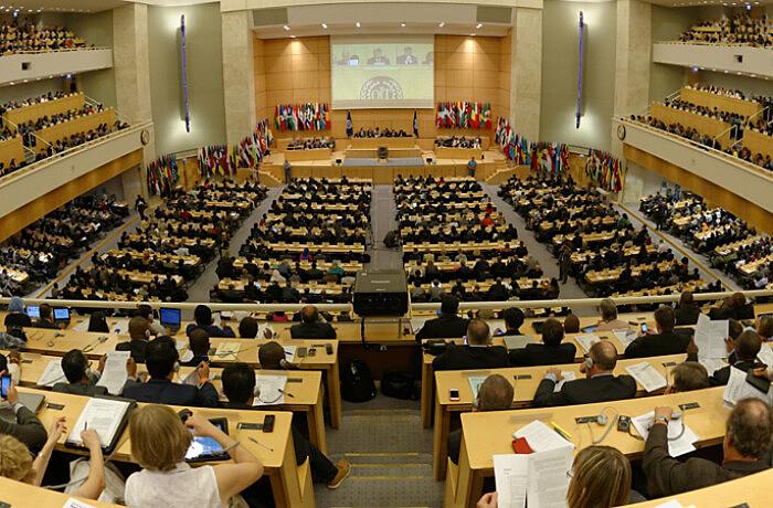 Plenário da Organização Internacional do Trabalho, organização que está completando 100 anos