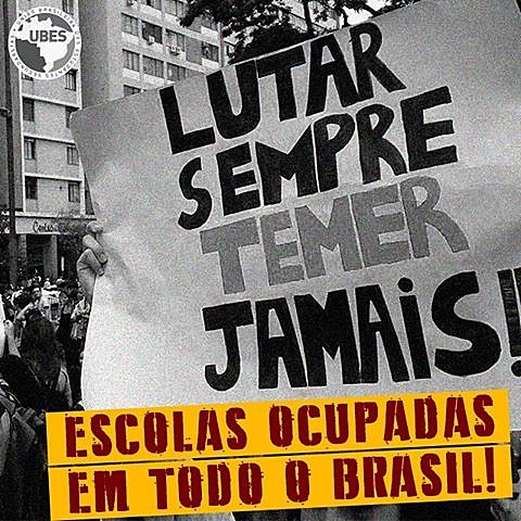 Cartaz de divulgação da UBES das ocupações das escolas por secundaristas