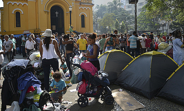 Survivors of building that collapsed camp outside a church in downtown São Paulo
