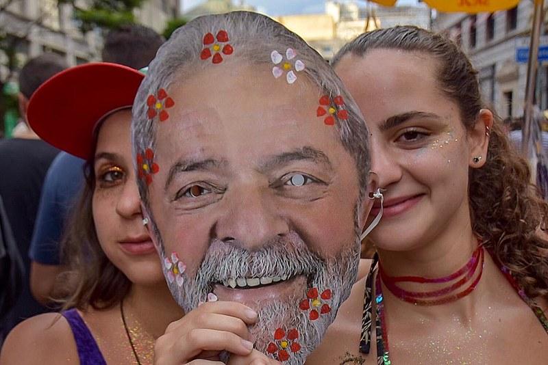 Ala por Lula Livre do Bloco Jegue Elétrico na praça da República, no centro de São Paulo na tarde desta segunda-feira (4)