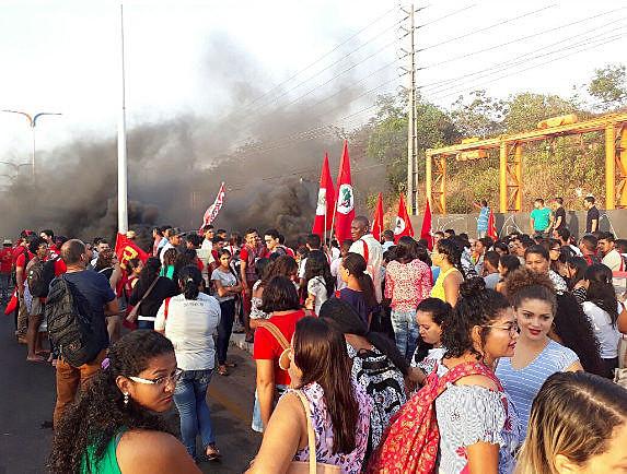 Demonstrators gather in Brazil protesting against proposed pension reform in December 2017