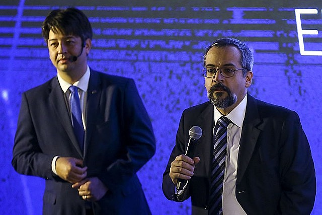 "Education minister, Abraham Weintraub (right), introducing the ""Future-se"" program in Brasília"