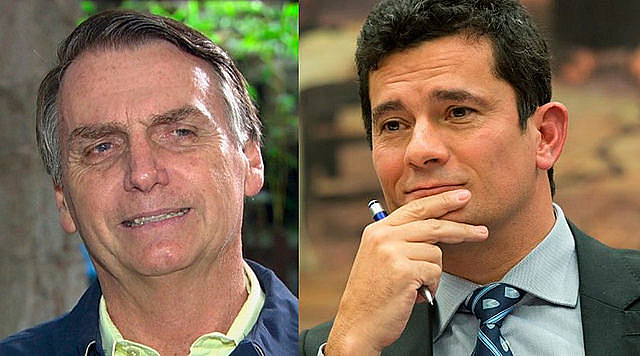 Brazilian president-elect Jair Bolsonaro (left) appointed judge Sergio Moro as minister of justice