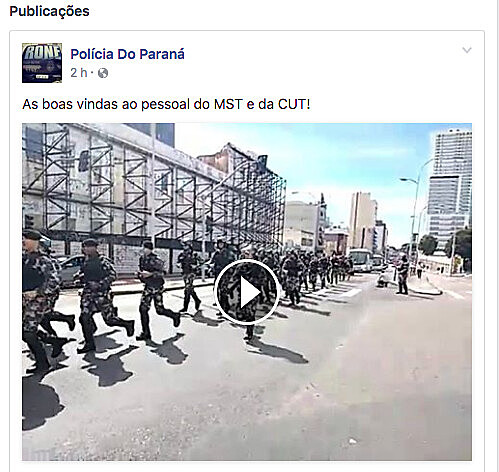 """Postagens mostram marchas de policiais como """"boas-vindas"""" a integrantes da CUT e do MST"""