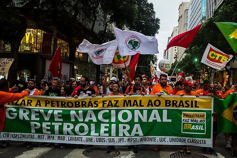 Manifestação petroleiros no Rio de Janeiro