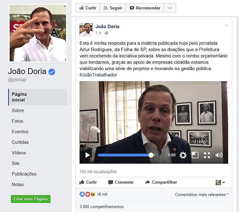 No vídeo o prefeito de São Paulo desqualifica o profissional e repete várias vezes o nome do repórter que publicou a matéria