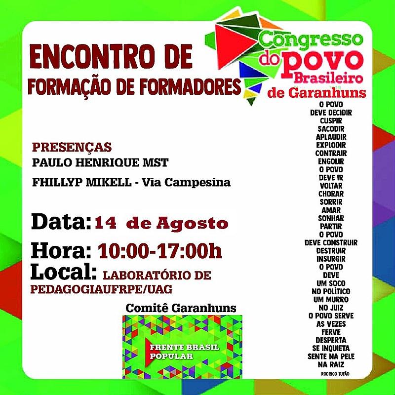 Formação preparará formadores e organizadores do Congresso do Povo