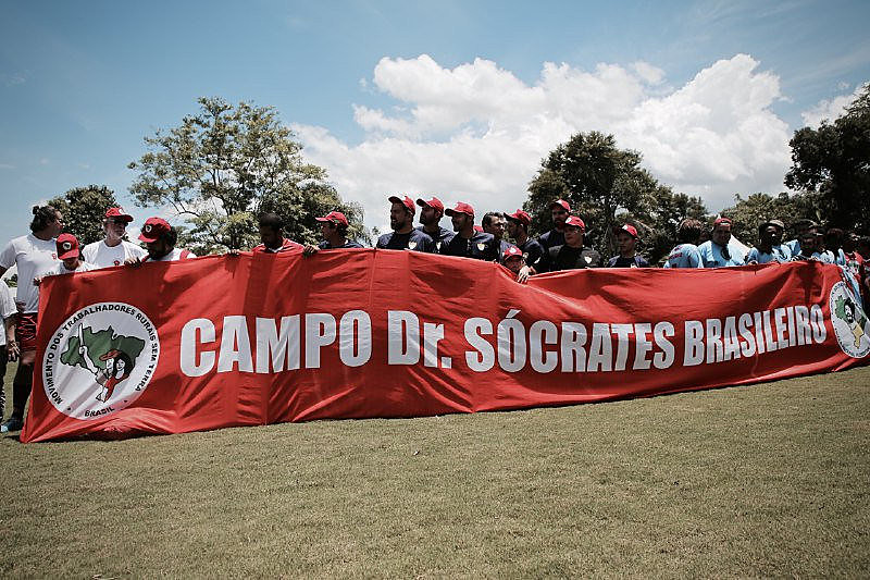 Acto de inauguración del campo de juego Doctor Sócrates Brasileiro, en la Escuela Nacional Florestan Fernandes, del MST.