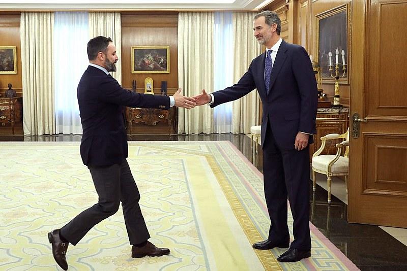 Líder do Vox, Santiago Abascal encontra com o rei da Espanha, Felipe VI, no Palácio Zarzuela em Madri