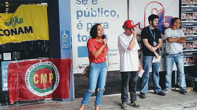Em Belo Horizonte, um ato foi realizado nesta quarta (8) em frente à agência da Caixa Econômica Federal da Rua Maranhão, na área hospitalar