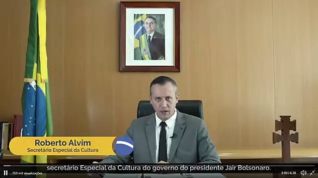 Roberto Alvim copied parts of Nazi propaganda chief's speech in official video posted on social media