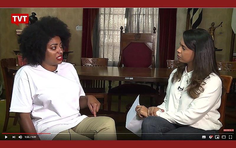 Preta Ferreira durante entrevista à repórter Nahama Nunes, da Rádio Brasil Atual