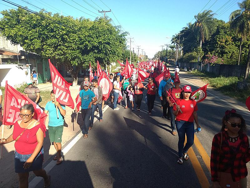 Marcha do MST pela Democracia e por Lula Livre, realizada na última segunda-feira (23), no Ceará