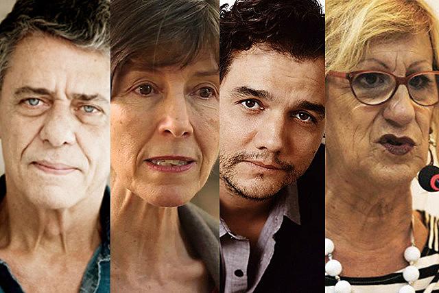 Da esquerda para direita, Chico Buarque, Maria Rita Kehl, Wagner Moura e Laerte Coutinho, que assinam o documento